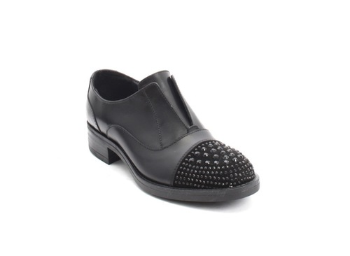 Black Leather / Crystal Encrusted Suede Shoes