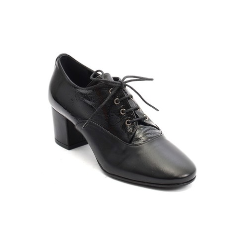 Black Leather / Patent Round Toe Lace Booties Shoes