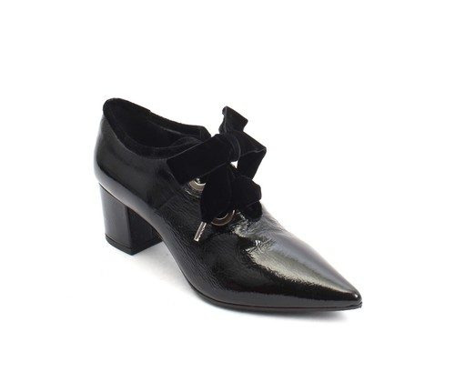 Black Patent Leather Velour Pointy Lace Booties Shoe