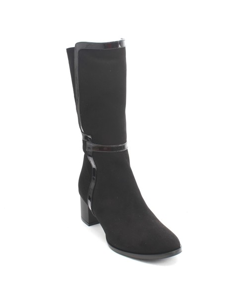 Black Suede / Patent Leather Zip Heel Mid Calf Boots