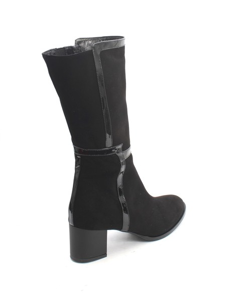 753835e5ccb Black Suede / Patent Leather Zip Heel Mid Calf Boots By Isabelle | Mini  Centro | New York