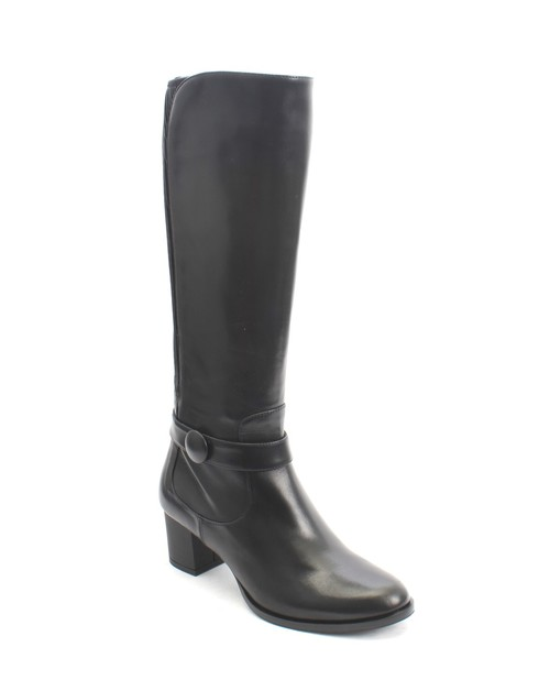 Black Leather / Stretch Leather Zip-Up Knee High Boot