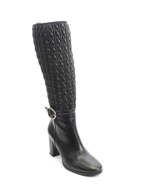 Black Quilted Stretch Leather Zip-Up Knee High Boots
