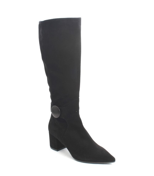 Black Suede / Stretch Suede Zip Pointy Knee High Boot