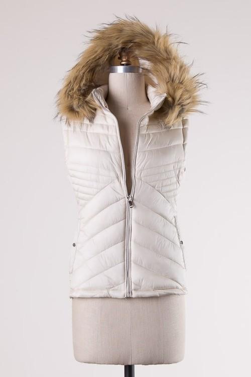 Cream Fur Trim Vest