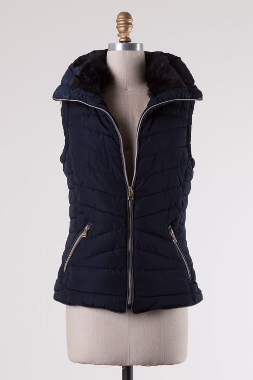 Navy Side Pocket Vest