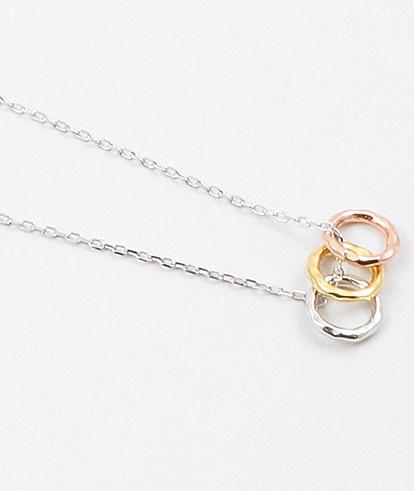 Hammered Tri Color Sterling Necklace