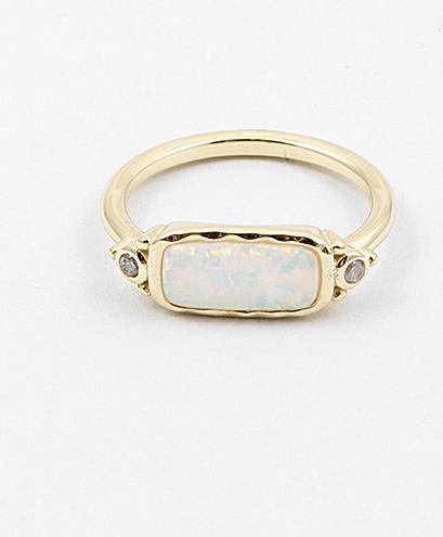 White Opal Rec. CZ Ring