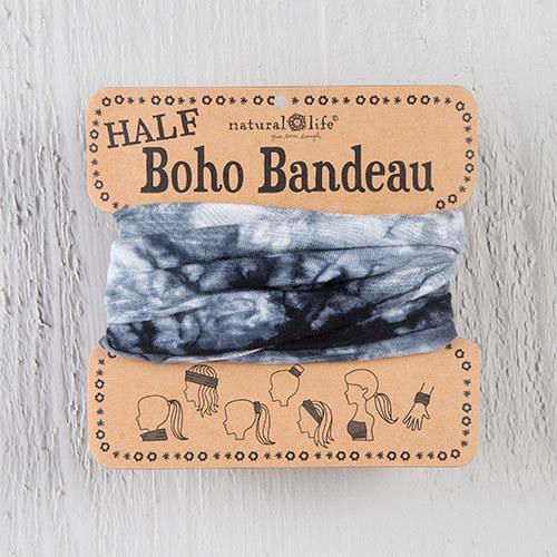 White & Black Tie Dye 1/2 Boho Bandeau