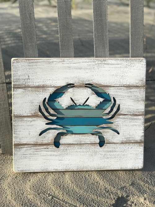 Crab Cut Out Slat Sign