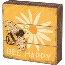 Bee Happy Slat Box Sign