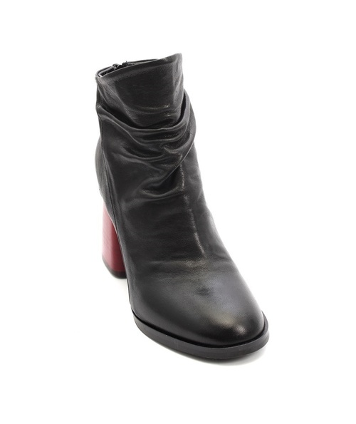 Black / Red / Leather Zip Ankle Boot