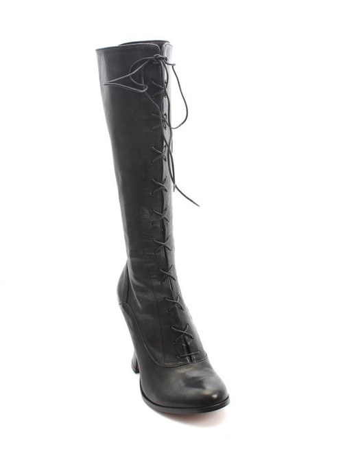 Black Leather Zip / Lace Mid-Calf Heel Boots