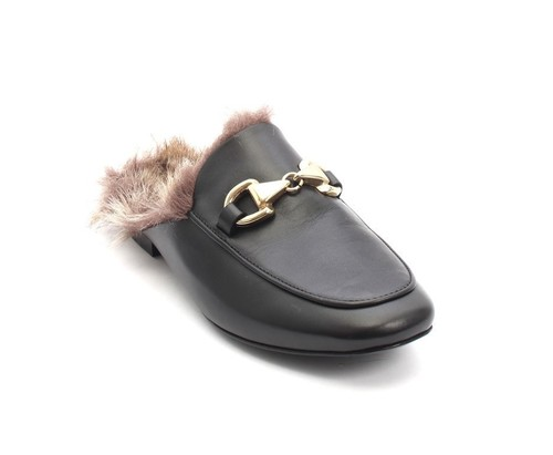Black Leather / Faux Fur / Buckle Mules