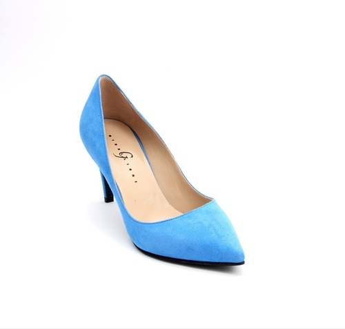 Blue Suede Pointy Pumps