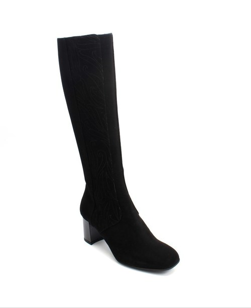 Black Suede Knee High Dress Boots