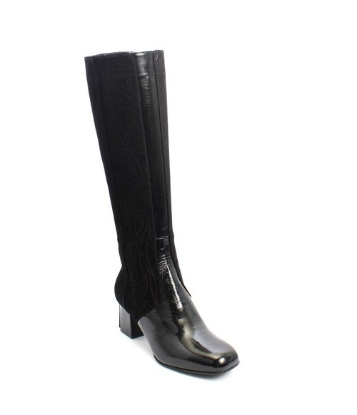 Black Suede / Patent Shearling Fur Knee High Boot