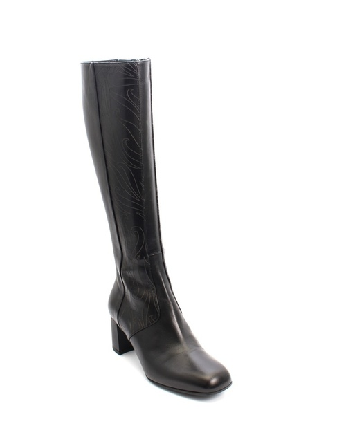 Black Leather Laser Cut Pattern Knee High Boots