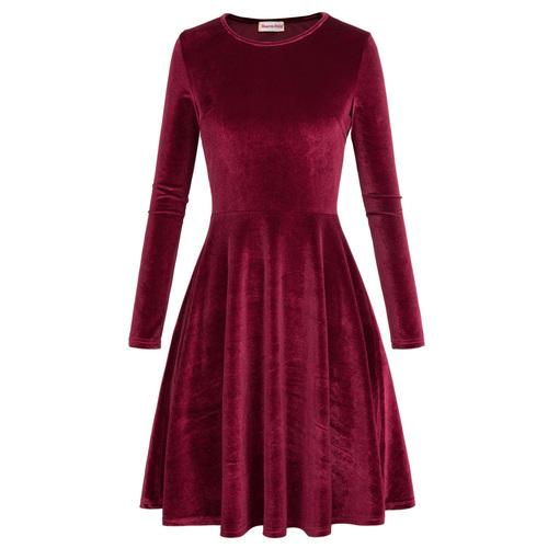 Josie Velvet Flared dress (Wine or Black)