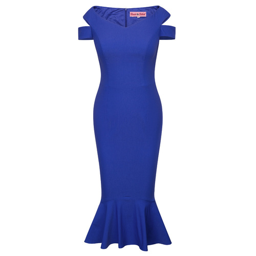 Catalina Mermaid Pencil Dress (Royal Blue)