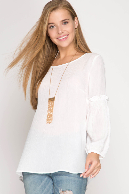 Long Sleeve Top with Smocking Sleeve Detail