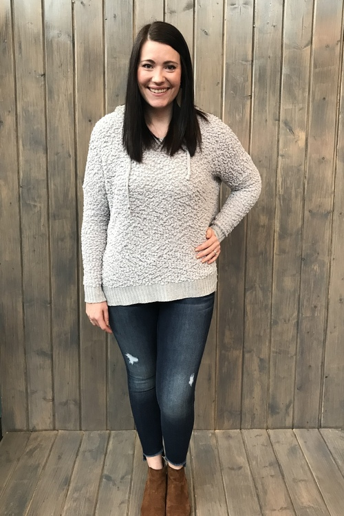 Gray Hooded Boucle Pullover