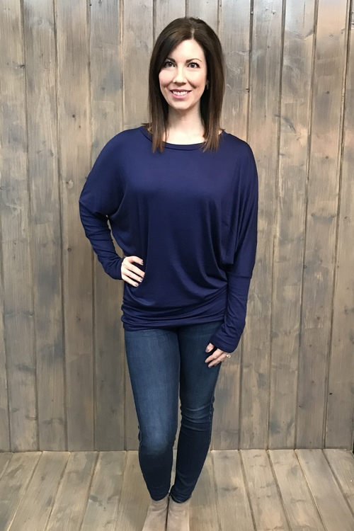 Long Sleeve Cowl Neck Navy Tunic