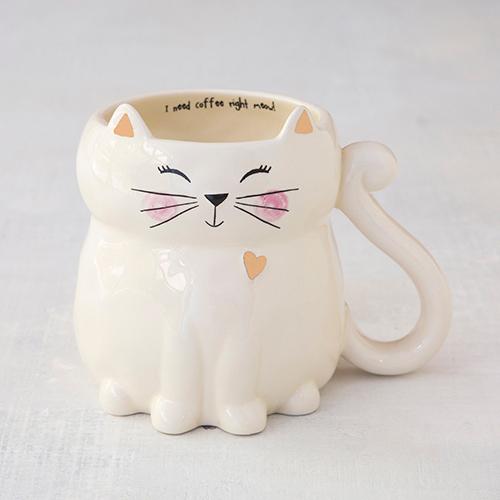 I Need Coffee Right Meow Cat Folk Art Mug