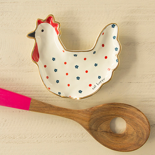 Eat Happy Rooster Spoon Rest