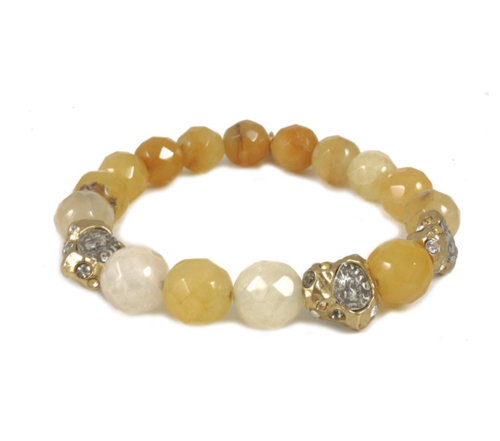 Kotur Yellow Jade Stretch Bracelet With Gold Nuggets and VS Coins