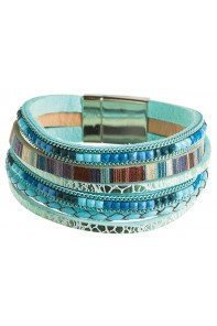 Aqua Bead 6 Row Magnetic Bracelet