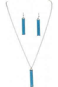 Aqua Druzy Bar Necklace