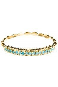 Gold Blue Dots Row Ring