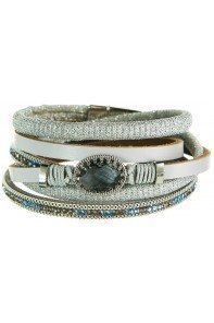 Icy Grey Faux Leather with Crystals Bracelet