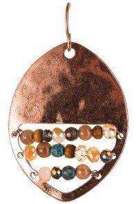 Row of Beads Oval Copper Earrings