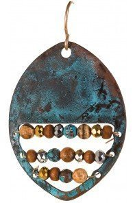 Row of Beads Oval Patina Earrings