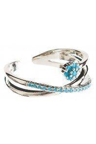 Silver Blue Dot Flower Ring