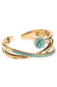 Gold Blue Dot Flower Ring