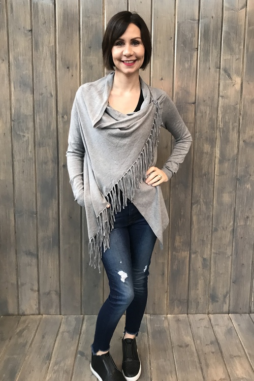 Asymmetrical Fringe Cardigan Heather Grey
