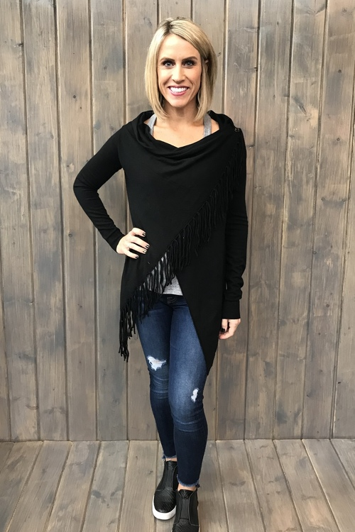 Asymmetrical Fringe Cardigan Black