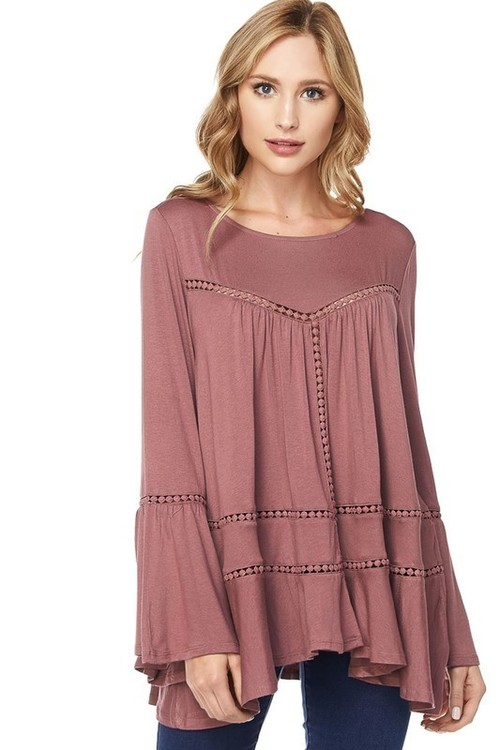 Mauve Bell Sleeve Crochet Lace Blouse