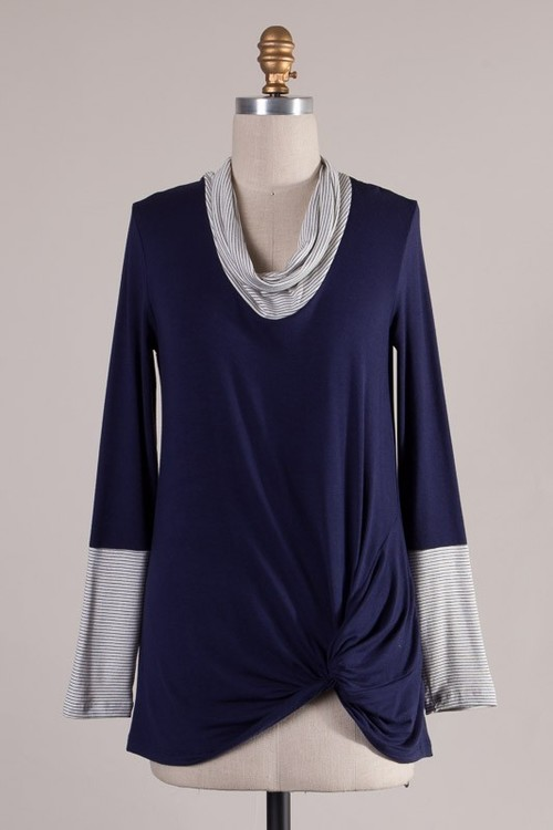 Side Twist Cowl Neck Pullover