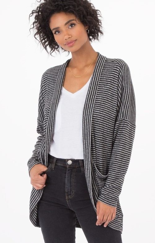 Striped Brushed Rib Cardigan