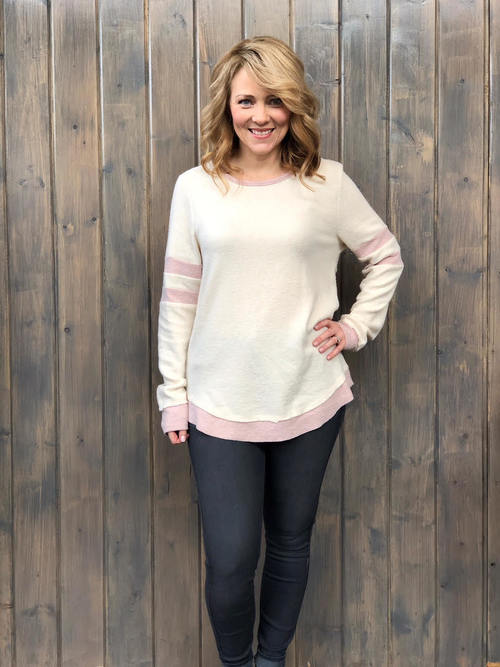 Brushed Hacci Two Tone Pullover