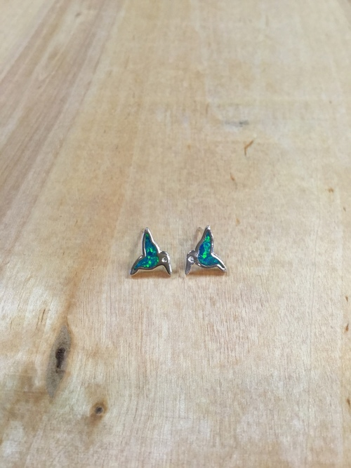 Lab Created Opal Hummingbird Studs