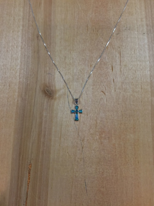 Dark Blue Synthetic Opal Cross Necklace