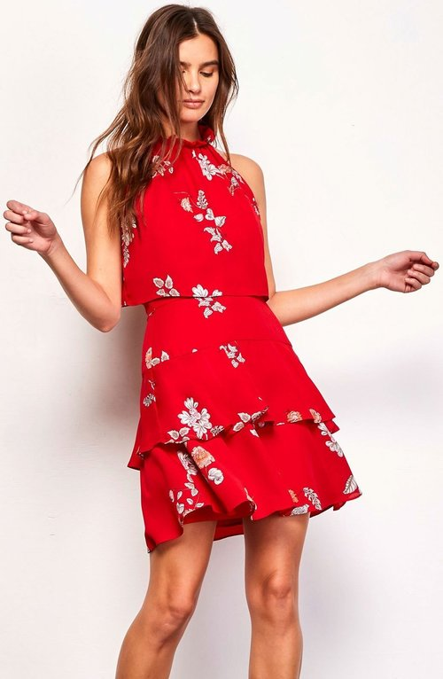 Floral Ruffle Sleeveless Dress