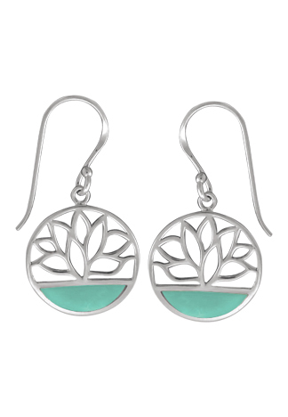 Circle Lotus Green Mother of Pearl Earrings