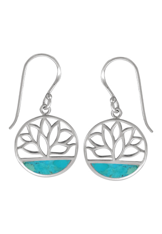 Circle Lotus Turquoise Earrings