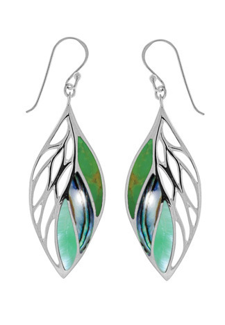Leaf Dangle Earrings Green Tuquoise, Albalone, Green Mother of Pearl